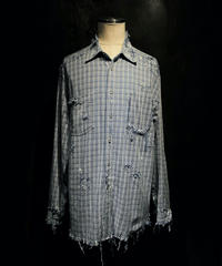 Vintage damage check denim shirt
