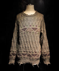 Vintage damage Jacquard knit