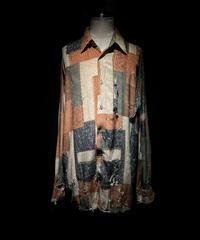Vintage damage & paint patchwork pattern shirt