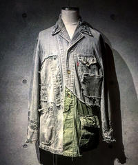 Different fabrics Sewn Denim coverall Jacket