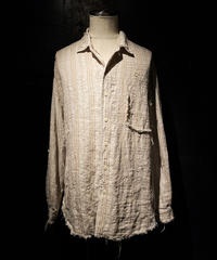 Vintage damage linen stripe shirt