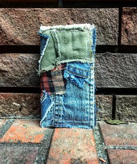 Denim×Military×Check patchwork Folding design iPhone case