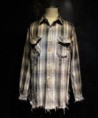 Vintage check damage shirt