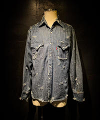 Vintage damage denim shirt #5