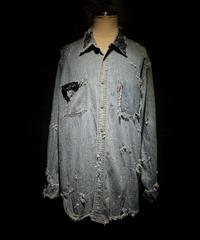 Vintage damage & paint BORO denim shirt (襤褸)