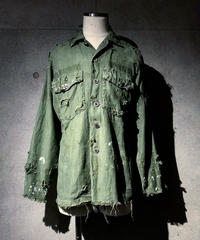 SURREALISTE×RESURRECTION Silver button vintage damage militaly shirt