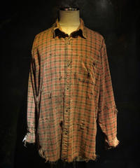 Damage corduroy plaid shirt