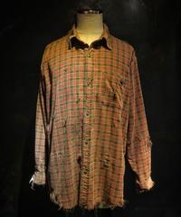 Damage corduroy plaid shirt
