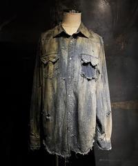 Vintage dye damage denim shirt