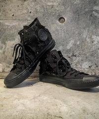BLACK Denim Patchwork Embroidery Sneaker