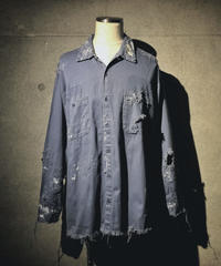 Vintage damage blue military shirt