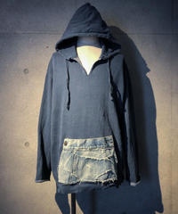 Denim pocket smoke navy hoodie