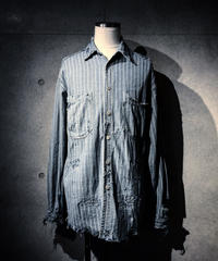 Stripe vintage repair damage denim shirt