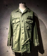 Different fabrics sewn hard damage military shirt