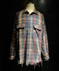Damage vintage check shirt