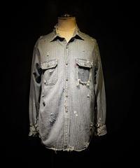Vintage damage Stripe denim shirt