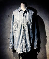 Stripe vintage damage denim shirt
