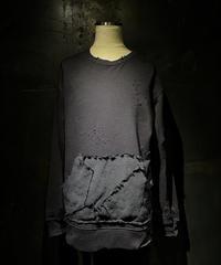 Damage different fabric pocket sweat shirt
