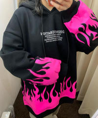 ピンクの炎 裏起毛パーカー(NO.4087)