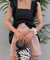 Backリボンfrill blouse