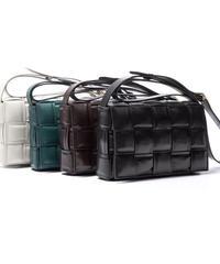 leather mesh shoulder bag