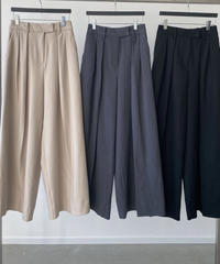 ping tuck  wide slacks pants/ベージュ・グレー・ブラック