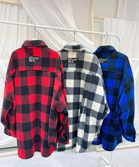 block checkネルover shirt/レッド・ブラック・ブルー