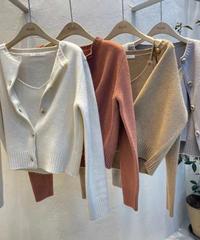 カシミアウール混ensemble knitカーディガン/4color