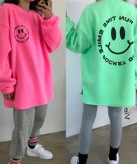 smile  fleece mtm tops /ネオンピンク・ネオングリーン