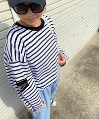 arm cut ボーダーpullover