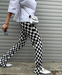 Checker ワッシャーpants/ブラック