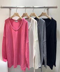 V long sleeve /ピンク・アイボリー・グレー・ブラック
