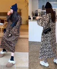 leopard  fleece  ops/ブラウン・ベージュ