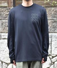 NIKE ACG  グラフィック 刺繍ロゴTEE ワッフル生地 長袖 ロングスリーブTシャツ  BLACK
