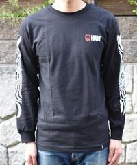 HUF SPITFIRE SWIRLS BLACK 袖ロゴロングスリーブTシャツ
