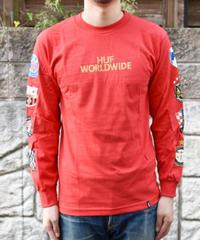 HUF WORLD WIDE WBC RED 袖ロゴロングスリーブTシャツ