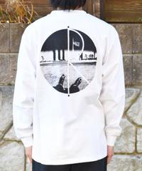 Polar Skate Co ポーラー Happy Sad Fill  ロゴ長袖Tシャツ WHITE