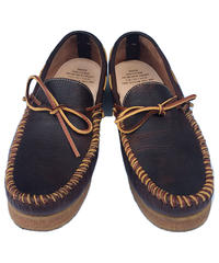 """NEXUSVII.  """" HAND SEWN MOCCASIN SHOES """" BROWN OILED"""