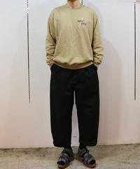"roundabout  "" Cotton × Hemp 2tuck Pants ""  BLK"