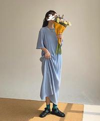 Pleats Smooth Long Dress  90317 送料無料