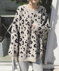 2color:Leopard Over Knit  送料無料