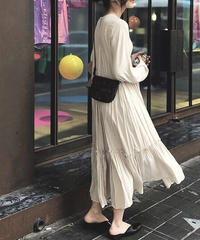 2color:Gagher Frill Long Dress   送料無料