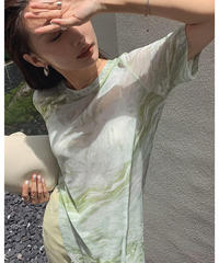 3color : Sheer Marble Slit Long Tops 90342 送料無料