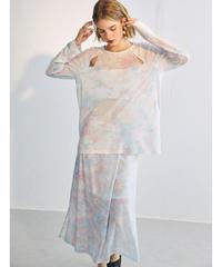 Sheer Nuance Color Tie-dye Tops / Skirt 90361 送料無料