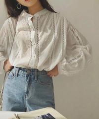 Band coller Cotton Gauze Dot Shirts  90161 送料無料