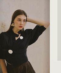 2color : Irregular Design Button Blouse 90331 送料無料