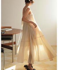 【apricot】Long Strap Gather Flare Dress 90350 送料無料