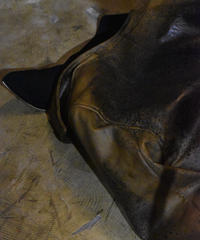"""Jobi fret roop """" Yellow cow leather architecture tailored noisy jacket"""""""
