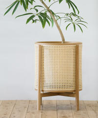 Mokuji Rattan  pot cover _オイル_size L + Stand