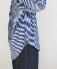 "Graphpaper ""Thomas Mason L/S B.D Shirt""  Navy Stripe"